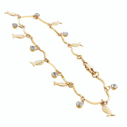 Gold Layered Clear Glass Beads with Fish Beach foot chain Shapes 10 Inch Long Anklet for women