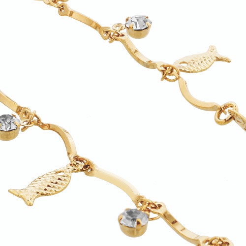 Clear Glass Beads with Fish Shapes Anklet
