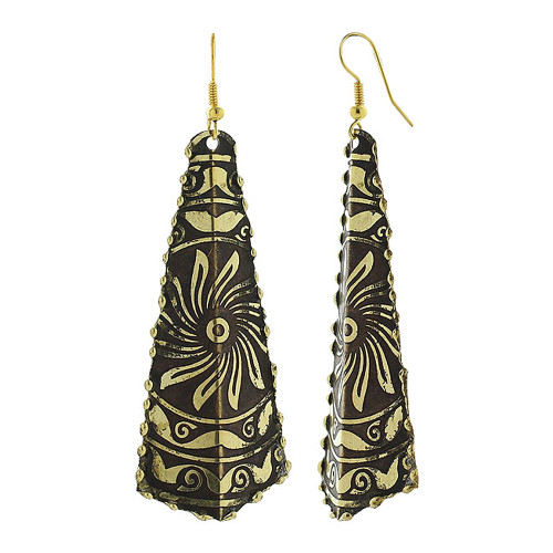 1 x 2.5 inch Kite Shaped Golden with Floral Design French Ear Wire Hook Dangle Earrings