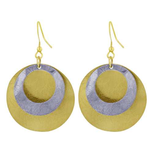 Metal with Scratch Finish Two Tone 1.2 inch Round Dangle Earrings