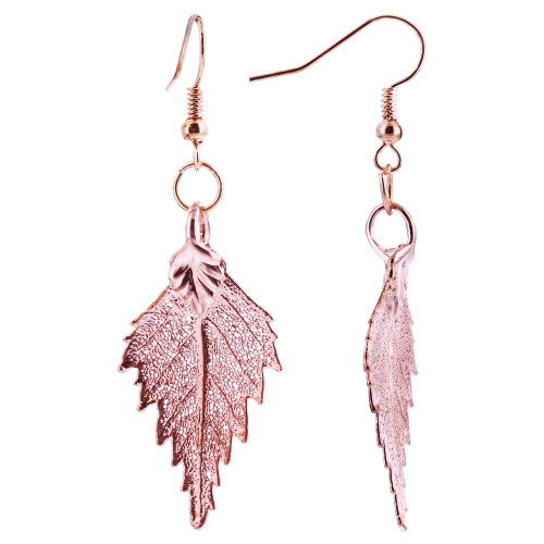 Rose Gold Plated Real Birch Leaf French Hook Drop Earrings