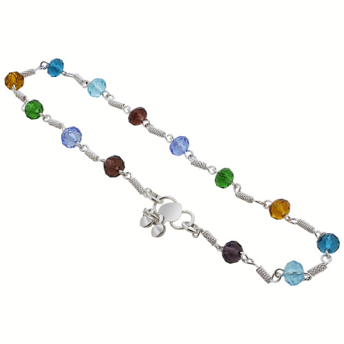 Silver Tone Multicolor Simulated 6mm Beads 10.5 inch Long Anklet