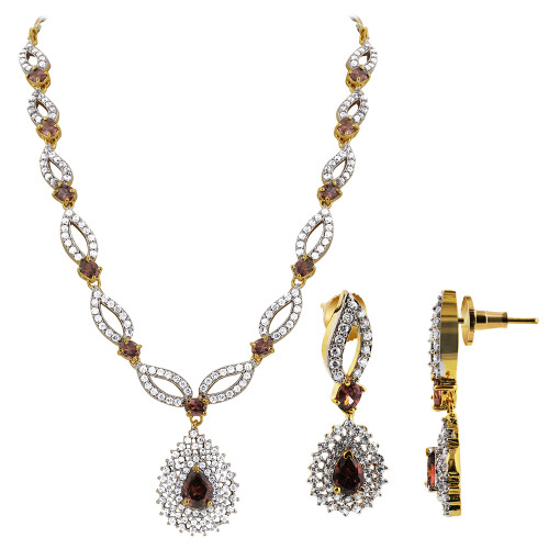 Gold Plated Lavender with CZ Earrings 15 to 17 inch Adjustable Bollywood Indian Necklace Jewelry Set