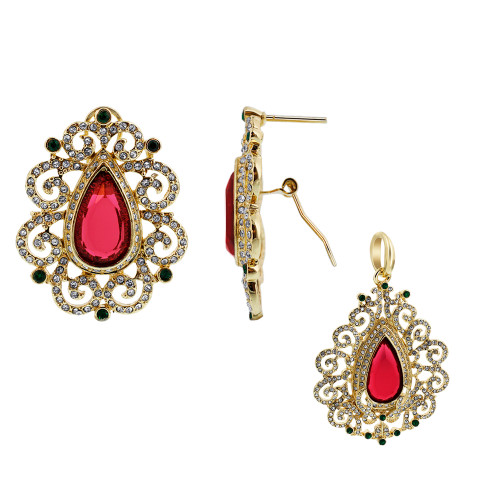 Gold Plated Ruby Cubic Zirconia Faceted Teardrop Shape Earrings Pendant Set
