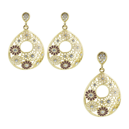 Gold Layered Pear Floral White and Purple Enamel with Simulated Stones Earrings Pendant Set