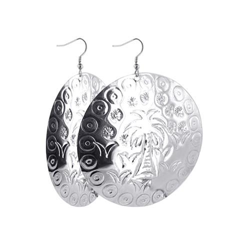 2.5 inch wide Palm Tree Engraved Disk 3 inch Drop Earrings with French Ear wire Hook Back Findings