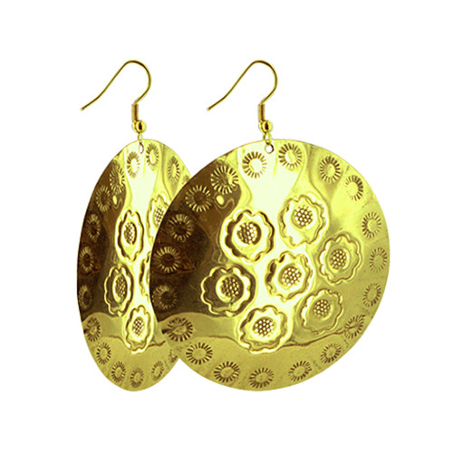 Engraved Round Disk French Hook Drop Earrings