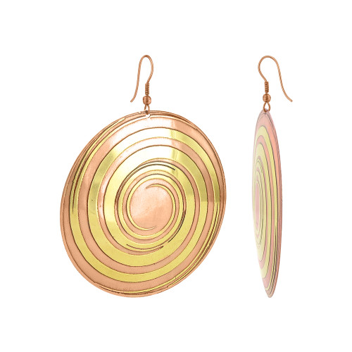 2.4 inch Round Swirl Design with French Wire Drop Earrings