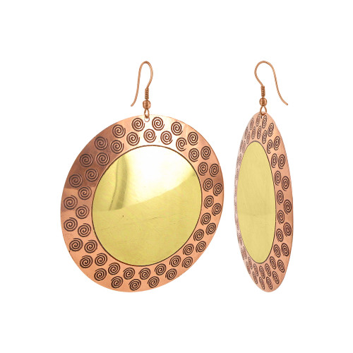 2.4 inch Round Swirl with French Wire Drop Earrings