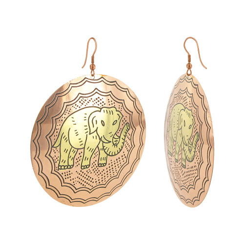 2.4 inch Round Elephant Designer Fashion Drop Earrings with French Wire Findings #SBE037