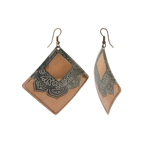 2.5 Square Fashion with French Wire Findings Drop Earrings