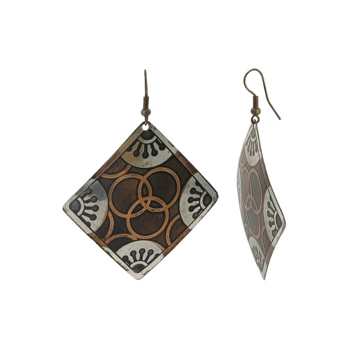 2 inch Square Designer Fashion with French Wire Drop Earrings