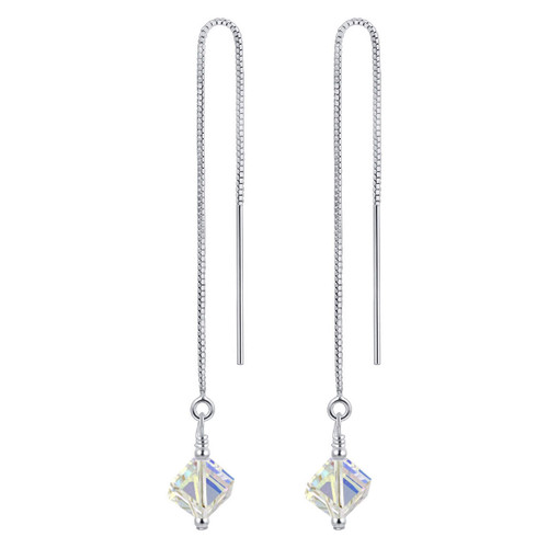 925 Sterling Silver Made with Swarovski Elements Clear AB Crystal Threader String Handmade Dangle Earrings