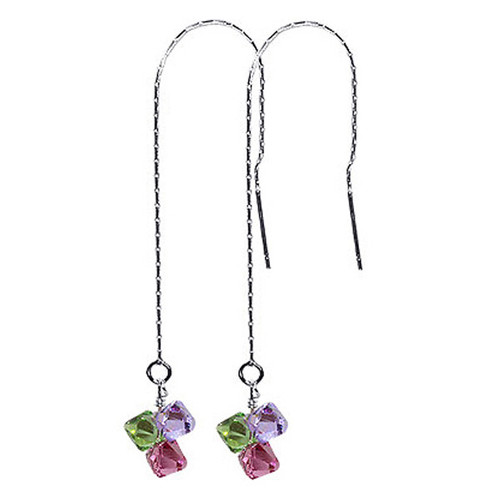 925 Sterling Silver Made with Swarovski Elements Green Pink and Lavender Color Crystal Threader String Handmade Dangle Earrings