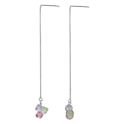 925 Silver Swarovski Elements Green Pink & Lavender Color Crystal Threader String Dangle Earrings