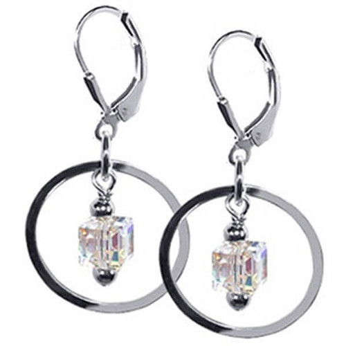 Swarovski Cube Crystal Dangling on a Circle Sterling Silver Leverback Drop Earrings