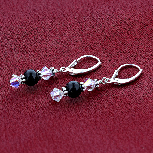Sterling Silver Black Onyx Gemstone & Clear Swarovski Crystal Handmade Leverback Dangle Earrings