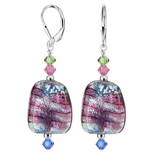 925 Sterling Silver Blown Glass Swarovski Elements Green Pink & Blue Crystal Leverback Dangle Earrings