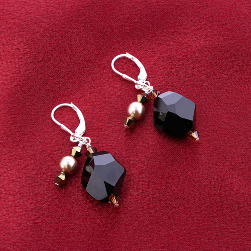 925 Silver Swarovski Elements Faux Pearl and Black Crystal Handmade Leverback Dangle Earrings