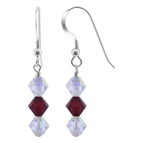 925 Sterling Silver Made with Swarovski Elements Clear AB and Garnet Color Bicone Crystal Drop Earrings