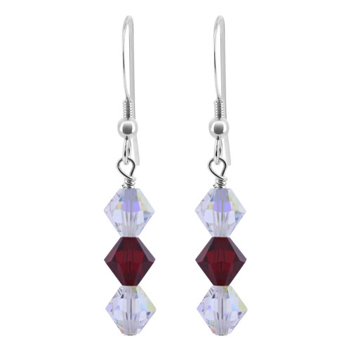 Sterling Silver Made with Swarovski Elements Clear AB and Garnet Color Bicone Crystal Drop Earrings