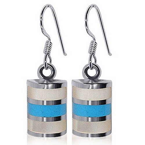 925 Sterling Silver Mother of pearl and Turquoise Inlay Drop Earrings