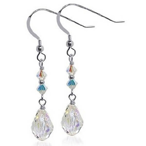 925 Sterling Silver Made with Swarovski Elements Clear Crystal Handmade Dangle Earrings