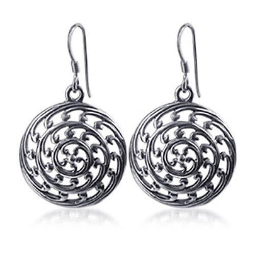 925 Sterling Silver Round French Wire Dangle Earrings