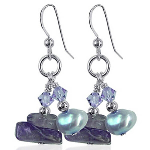 925 Silver Natural Stone Swarovski Elements Nugget Pearl and Crystal Handmade Dangle Earrings