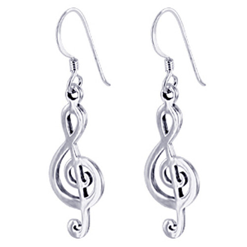 925 Sterling Silver Musical Note French Hook Dangle Earrings