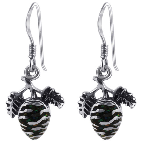 925 Sterling Silver Onyx with Created Opal Pine Cone Drop Earrings