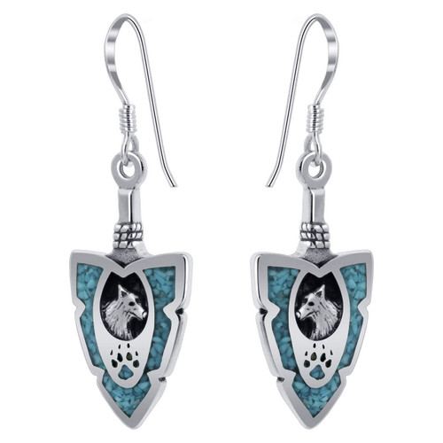 Arrowhead Wolf southwestern Style Turquoise Sterling Silver Drop Earrings