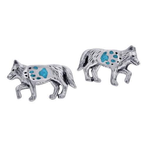 Turquoise Gemstone Wolf with Paw Southwestern Style Sterling Silver Post Back Stud Earrings