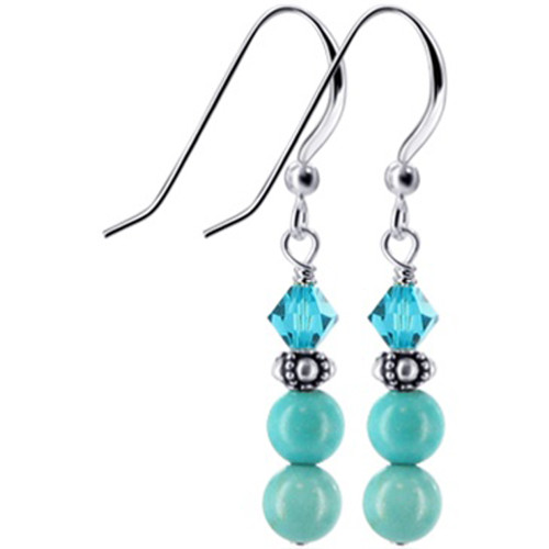 Turquoise Bead and Blue Swarovski Crystal Handmade Drop Earrings