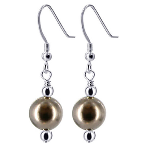 925 Sterling Silver Made With Swarovski Elements Brown Faux Pearl Beads Handmade Drop Earrings
