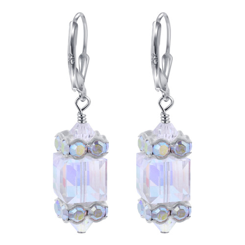 Sterling Silver Made With Swarovski Elements Clear AB Crystal Handmade Leverback Drop Earrings