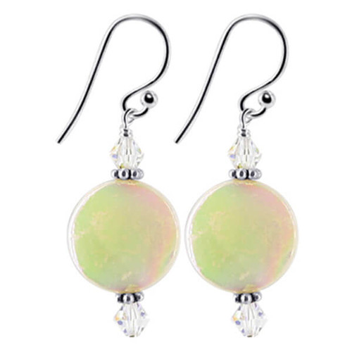 Sterling Silver Swarovski Mother of Pearl and Clear Crystal Handmade Drop Earrings