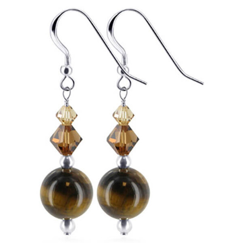 925 Sterling Silver Made With Swarovski Elements Tiger Eye and Tan Color Crystal Handmade Drop Earrings