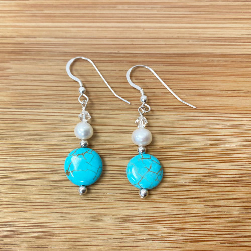 Reconstituted Turquoise White Faux Pearl Swarovski Elements Crystal Drop Earrings