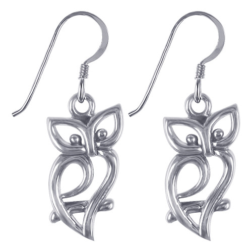 925 Sterling Silver Owl Silhouette French Hook Dangle Earrings