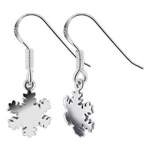 925 Sterling Silver Polished Finish Snowflake Drop Earrings