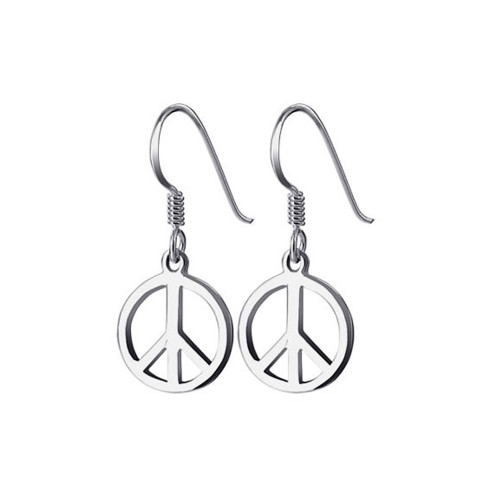 925 Sterling Silver 10mm Peace Sign French Hook Dangle Earrings