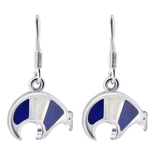 925 Sterling Silver Bear with Created Opal Inlay Drop Earrings