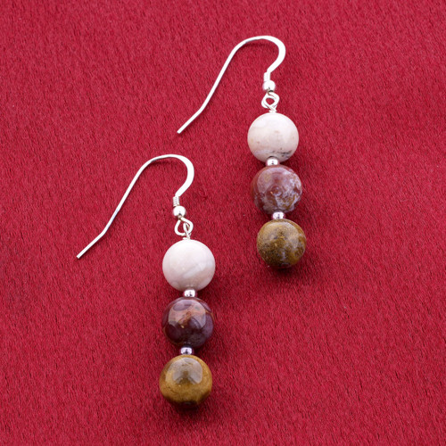 925 Sterling Silver white Red and Brown Jasper Beads Drop Earrings #SCER705