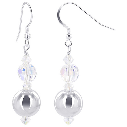 925 Sterling Silver Round Ball with Swarovski Elements Clear AB Crystal Handmade Drop Earrings