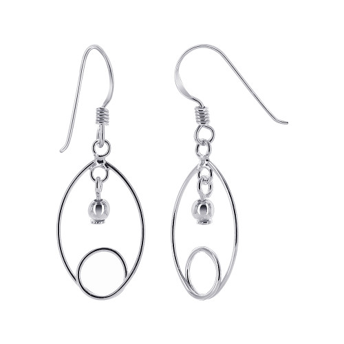 925 Sterling Silver Ball French Wire Dangle Earrings
