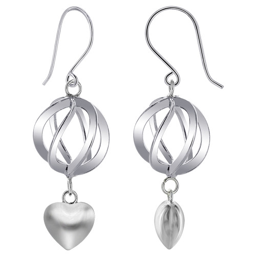 Sphere with Heart Dangle Earrings