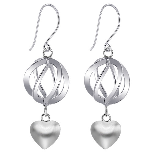 925 Sterling Silver Sphere with Heart French wire Dangle Earrings