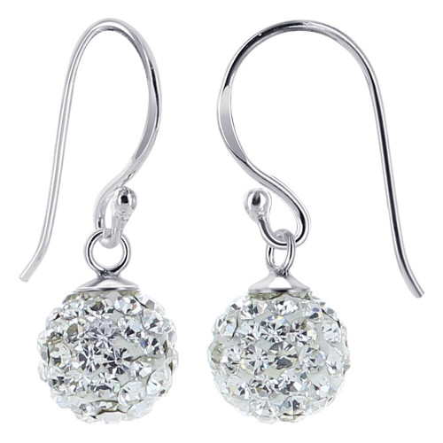Studded Round Clear Drop Earrings
