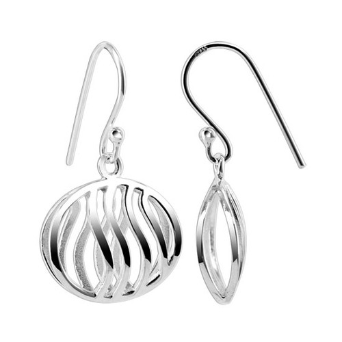 925 Sterling Silver 17mm x 15mm Oval with Wavy design French wire Drop Earrings